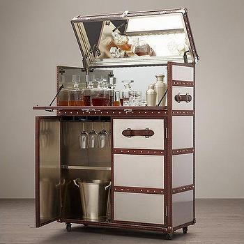 Storage Furniture - Mayfair Bar Cart - Brushed Steel I Restoration Hardware - steel and leather cabinet cabinet, steel steamer trunk bar cart, steam trunk bar cart, steamer trunk bar cabinet,