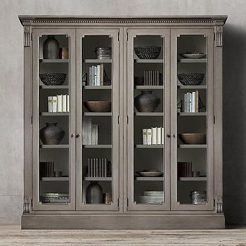 Storage Furniture - St. James Glass 4-Door Cabinet I Restoration Hardware - antiqued gray cabinet, antiqued gray storage cabinet, traditional gray glass front cabinet,