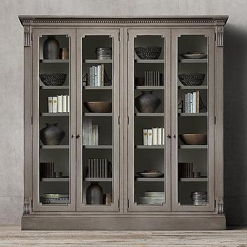 Storage Furniture - St. James Glass 4-Door Cabinet I Restoration Hardware - antiqued gray cabinet, antiqued gray storage cabinet, traditional gray glass front cabinet,