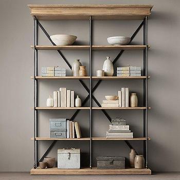 Storage Furniture - Parisian Cornice Double Shelving I Restoration Hardware - french style bookcase, french style shelving, wood and iron bookcase, x back iron bookcase, french storage furniture,