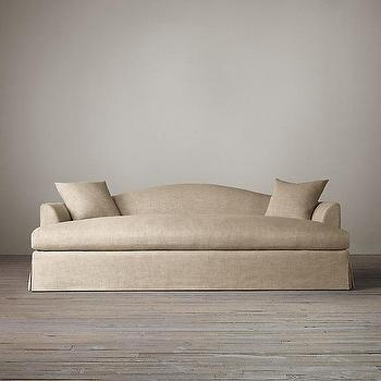 Seating - Belgian Camelback Slipcovered Daybed I Restoration Hardware - camelback daybed, linen daybed, linen skirted daybed,