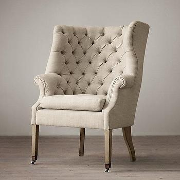 Seating - 19th C. English Wing Chair I Restoration Hardware - english wing chair, english tufted wing chair, button tufted wing chair,