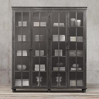 Storage Furniture - Zinc Glass 4-Door Cabinet I Restoration Hardware - zinc display cabinet, zinc glass front cabinet, zinc china cabinet,
