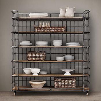 Storage Furniture - Circa 1900 Caged Baker's Rack Wide Single Shelving I Restoration Hardware - caged bakers rack, industrial bakers rack, steel and wood bakers rack,