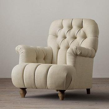 Seating - 1860 Napoleonic Tufted Upholstered Chair I Restoration Hardware - button tufted linen chair, french tufted chair, rolled arm tufted chair,