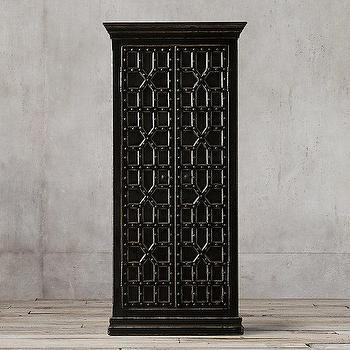 Storage Furniture - 17th C. Castell� Double-Door Cabinet I Restoration Hardware - moorish style cabinet, moorish style furniture, weathered black storage cabinet, distressed black and iron cabinet,