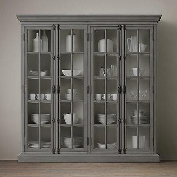 Storage Furniture - French Casement 4-Door Cabinet I Restoration Hardware - french casement cabinet, gray french china cabinet, gray china cabinet, glass front casement cabinet,