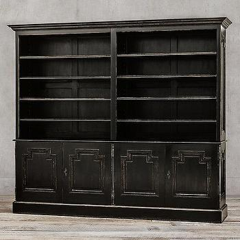Storage Furniture - Montpellier Panel 4-Door Sideboard & Open Hutch I Restoration Hardware - black french hutch, antiqued black sideboard and hutch, antiqued black hutch, french baroque hutch,