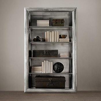 Storage Furniture - Aviator Single Shelving I Restoration Hardware - aviator bookcase, industrial aluminum bookcase, polished aluminum shelves, riveted aluminum bookcase,