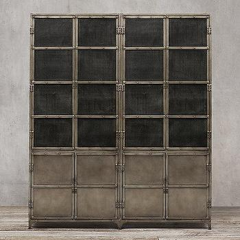 Storage Furniture - Industrial Tool Chest Panel 4-Door Sideboard & Mesh Hutch I Restoration Hardware - industrial cabinet, industrial sideboard, steel cabinet, steel sideboard and hutch, industrial sideboard with hutch,