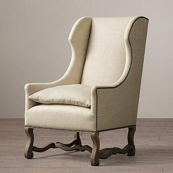 Seating - French Baroque Upholstered Wing Chair I Restoration Hardware - french wingback chair, linen wingback chair, linen chair with nailhead trim, french baroque style chair,