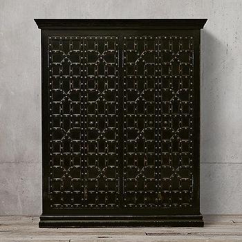 Storage Furniture - 17th C. Castell� 4-Door Cabinet I Restoration Hardware - geometric moorish cabinet, distressed moorish cabinet, black moorish cabinet, black cabinet with iron studs,