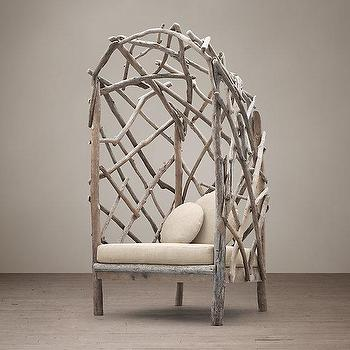 Storage Furniture - Driftwood Upholstered Chair I Restoration Hardware - driftwood chair, driftwood arched chair, weathered driftwood chair,