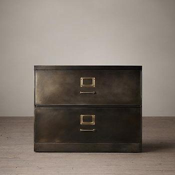 "Storage Furniture - 1940S Industrial Modular Office 36"" I Restoration Hardware - industrial filing cabinet, industrial office furniture, bronze colored filing cabinet,"