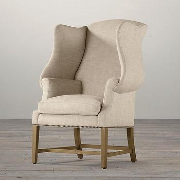 Seating - 1920s Georgian Wingback Chair I Restoration Hardware - shelter wing chair, linen wing chair, shelter wingback chair, linen nailhead trim chair,