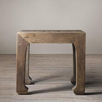 Tables - 17th C. Ming Dynasty Side Table I Restoration Hardware - reclaimed elm side table, weathered elm side table, asian elm side table, chinese elm side table,