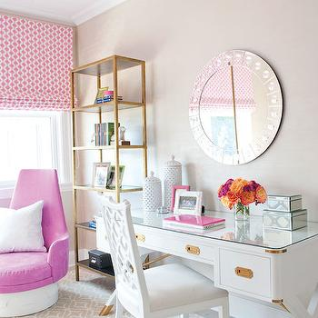 Lillian August - girl's rooms - contemporary girls room, campaign desk, white campaign desk, white desk chair, round mirror, round studded mirror, gold bookcase, pink chair, pink velvet chair, pink swivel chair, pink geometric roman shade, white and gray rug, gray geometric rug, girls desk, teen girls desk, teen desk, mirrored box,