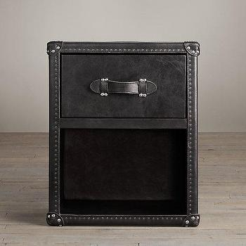 Storage Furniture - Mayfair Steamer Trunk 1-Drawer Cube I Restoration Hardware - black trunk side table, steamer trunk drawer cube, black steamer trunk nightstand,