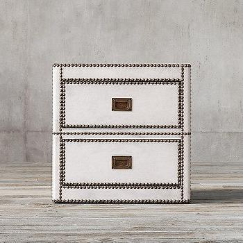 Storage Furniture - Marseilles 2-Drawer Side Table I Restoration Hardware - white leather 2 drawer table, white leather and nailhead side table, white leather campaign nightstand,