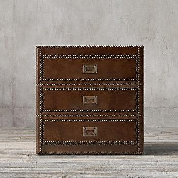 Storage Furniture - Marseilles 3-Drawer Side Table I Restoration Hardware - three drawer leather side table, leather and nailhead side table, brown leather campaign table,