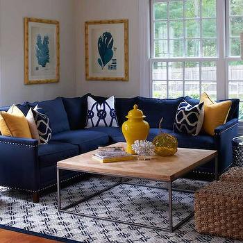 Navy Blue Sofa Transitional Living Room Sloan Mauran