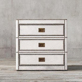 Storage Furniture - Marseilles 3-Drawer Side Table I Restoration Hardware - white leather side table, white nailhead trim side table, white campaign nightstand, leather and nailhead nightstand,