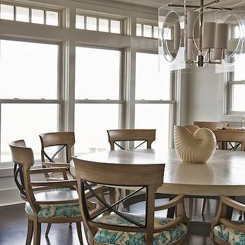 Lillian August - dining rooms - beadboard ceiling, dining room beadboard ceiling, round dining table, large round dining table, oversized round dining table, wood dining chairs, lucite chandelier, square lucite chandelier,