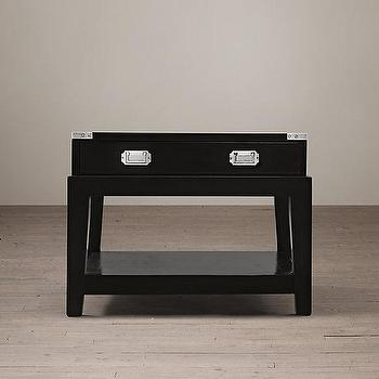 Tables - Warwick Campaign Side Table I Restoration Hardware - contemporary campaign furniture, black campaign side table, black campaign accent table,