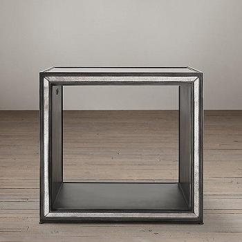 Tables - Strand Mirrored Side Cube Table I Restoration Hardware - antiqued mirrored cube table, mirrored cube side table, antique mirror side table,