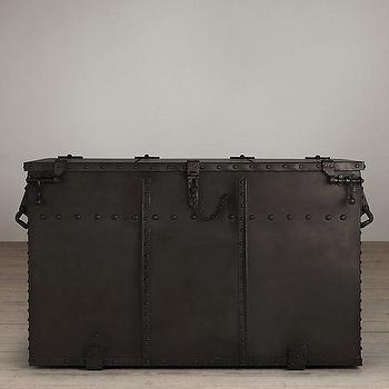 Storage Furniture - Voyager Trunk I Restoration Hardware - iron trunk, military style trunk, industrial military trunk, metal clad trunk,