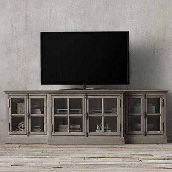 Storage Furniture - French Casement Glass Media Console I Restoration Hardware - french style media console, gray glass front media console, french casement media cabinet,