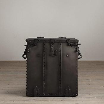 Storage Furniture - Voyager Trunk Side Table I Restoration Hardware - military trunk side table, iron riveted side table, iron trunk side table,
