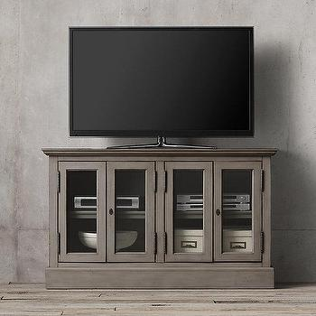 Storage Furniture - French Casement 54 - gray glass front media cabinet, glass front media console, french style media console,