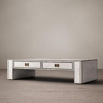 Tables - Marseilles Coffee Table I Restoration Hardware - white leather coffee table, leather and nailhead coffee table, white trunk coffee table, french steamer trunk coffee table,