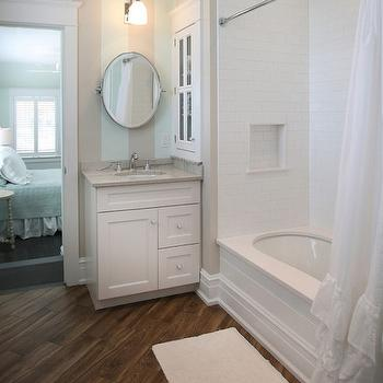 Striped Bathroom Walls, Cottage, bathroom, Beach Dwellings Interior