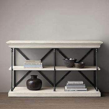 Storage Furniture - Parisian Cornice Console I Restoration Hardware - iron cornice console, iron and white wood console, distressed white and iron console,