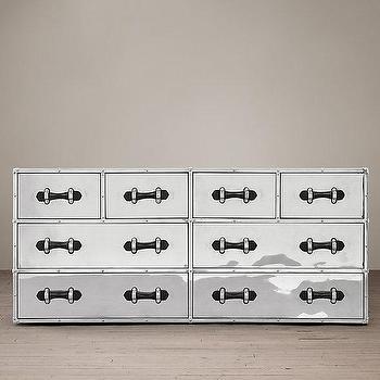 Storage Furniture - Trans Atlantic Steamer 8-Drawer Chest - silver steamer trunk chest, steamer trunk 8 drawer dresser, aluminum steamer trunk dresser,