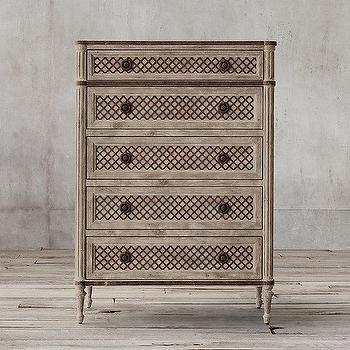 Louis XVI Treillage 5-Drawer Narrow Dresser I Restoration Hardware