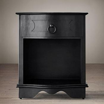 Storage Furniture - 18th C. Baroque Curved Metal Open Nightstand I Restoration Hardware - black zinc nightstand, black curved nightstand, black metal nightstand, black barqoue nightstand,