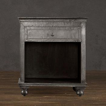 Storage Furniture - Zinc Open Nightstand I Restoration Hardware - zinc 1 drawer nightstand, one drawer zinc nightstand, open zinc nightstand,
