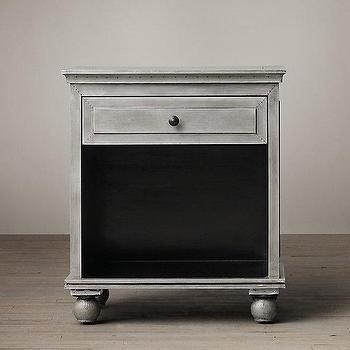 Storage Furniture - Light Zinc Open Nightstand I Restoration Hardware - light zinc nightstand, zinc clad nightstand, one drawer zinc nightstand,