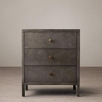 "Storage Furniture - 24"" Knox Closed Nightstand I Restoration Hardware - steel nightstand, steel 3 drawer nightstand, steel and brass nightstand,"