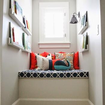 Dormer Window Reading Nook, Transitional, boy's room, Benjamin Moore Gray Owl, 6th Street Design School