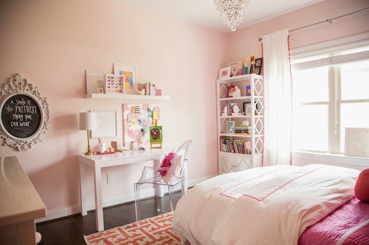 Darling Darleen - girl's rooms - Benjamin Moore - Gentle Butterfly - Overstock Student Desk White, Ghost Chair, Reflections Bookcase, Grecian Apricot Rug, Clarissa Glass Drop Small Chandelier, pink hotel bedding, pink hotel duvet, kids hotel bedding, pink coverlet, pink and ivory rug, pink and ivory geometric rug, pink walls, pink paint colors, pink girls room, pink and white girls room, ghost chair, white parsons desk, kids parsons desk, parsons writing desk, white floating shelf, baroque chalkboard, white baroque chalkboard, pink pom pom drapes, pom pom trimmed curtains, kids bookcase, mirrored cabinet bookcase, bookcase with mirrored cabinet doors, white kids bookcase, crystal droplet chandelier, kids desk chair, kids desk, white kids desk, kids pink paint colors, shelf over desk, over the desk shelf, above the desk shelf, kids bookshelf, pink geometric rug, benjamin moore pink colors, pink kids room colors, kids bedding, white and pink kids bedding, pink kids bedding, mirrored kids cabinet,