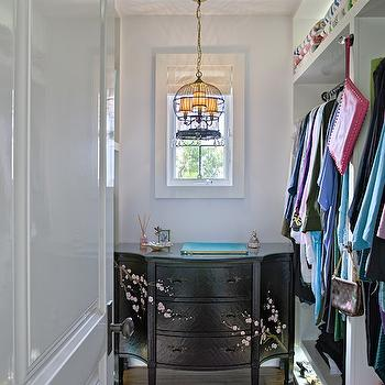 Jessica Risko Smith Interior Design - closets - purple rug, bird cage chandelier, wire cage chandelier, closet chandelier, closet dresser, black dresser with cherry blossoms, cherry blossom front dresser, walk in closet furniture, open closet storage, lighted closet storage, closet lighting ideas, open shoe cubbies, open shoe storage, lighted shoe shelves, built in clothes rails, lacquered interior doors, white lacquered door, white lacquered closet doors,