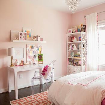 Darling Darleen - girl's rooms - Benjamin Moore - Gentle Butterfly - pink hotel bedding, pink hotel duvet, kids hotel bedding, pink coverlet, pink and ivory rug, pink and ivory geometric rug, pink walls, pink paint colors, pink girls room, pink and white girls room, ghost chair, white parsons desk, kids parsons desk, parsons writing desk, white floating shelf, baroque chalkboard, white baroque chalkboard, pink pom pom drapes, pom pom trimmed curtains, kids bookcase, mirrored cabinet bookcase, bookcase with mirrored cabinet doors, white kids bookcase, crystal droplet chandelier, kids desk chair, kids desk, white kids desk, kids pink paint colors, shelf over desk, over the desk shelf, above the desk shelf, kids bookshelf, pink geometric rug, benjamin moore pink colors, pink kids room colors, kids bedding, white and pink kids bedding, pink kids bedding, mirrored kids cabinet,