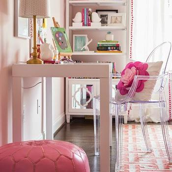 Darling Darleen - girl's rooms - Benjamin Moore - Gentle Butterfly - pink floor pouf, pink moroccan pouf, moroccan leather pouf, white parsons desk, modern white desk, parsons kids desk, acrylic chair, see through desk chair, pink flower pillow, pink flower applique pillow, pink greek key rug, pink and ivory greek key rug, pink walls, benjamin moore pinks, light pink paint colors, white mirror front bookcase, white bookcase with mirrored cabinet, white mirror front bookshelf, pink pom pom trimmed drapes, pink pom pom tassel drapes, pink trimmed drapes, white floating shelf, pink girls room ideas, kids bookcase, white kids bookcase, acrylic desk chair, kids desk chair, kids desk, white kids desk, kids pink paint colors, shelf over desk, over the desk shelf, above the desk shelf, kids bookshelf, pink geometric rug, benjamin moore pink colors, pink kids room colors,