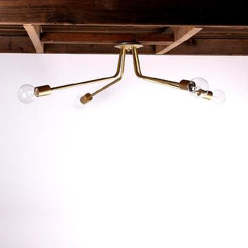 Lighting - Brass ceiling light I onefortythree - brass four arm ceiling light, four arm brass pendant light, modern brass ceiling pendant, brass pendant with exposed bulb,