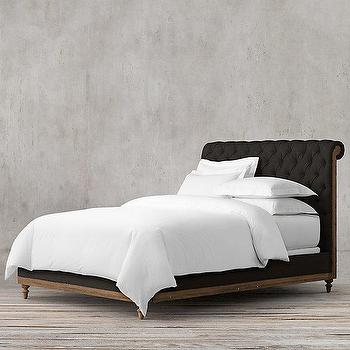 Beds/Headboards - Deconstructed Chesterfield Sleigh Bed Without Footboard I Restoration Hardware - black tufted bed, black tufted sleigh bed, black linen tufted bed,