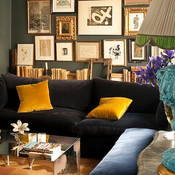 Black Velvet Sectional, Transitional, living room, Dalla Polvere